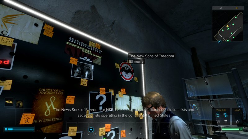 The NSF gets a little shout-out here in Mankind Divided. Note that they are an entirely fictional group BASED off of existing groups. That's different than  just calling them (say) the TEA PARTY, which is the kind of thing the Mankind Divided writer would do.