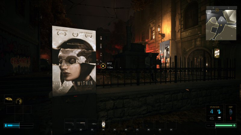 The movie posters in this game are smarter, more interesting, and more subtle than the world around them. I love these things. The world is overflowing with details like this.
