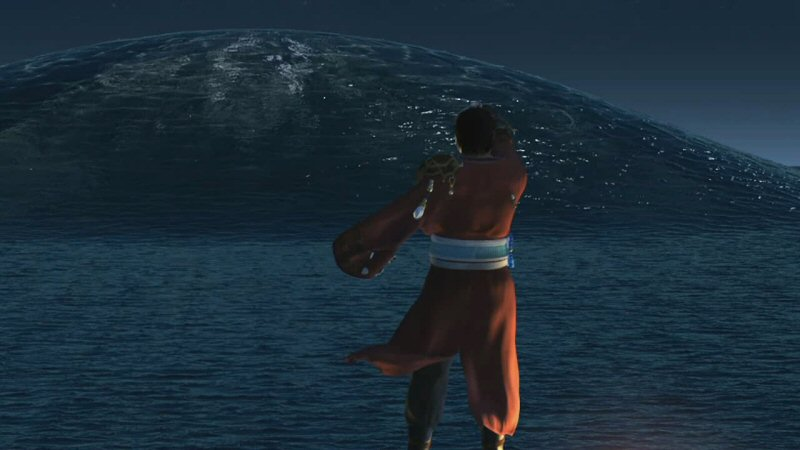 Sin rises from the ocean. My first time through the game, I thought this guy was, like, summoning a tsunami or something. But no, he's raising his bottle to the world-eater. No, I don't have time to explain that.