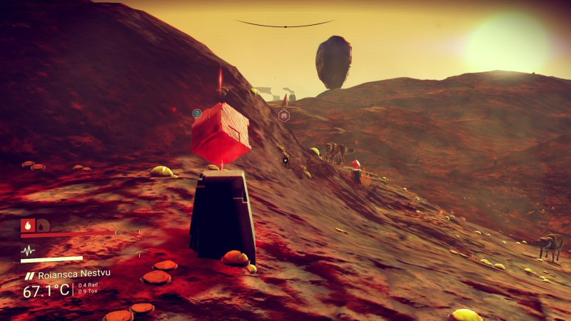 Very few planets have loot, such as these red cubes. But when you DO find one, the stuff is EVERYWHERE and you feel obliged to farm them for much longer than is fun.