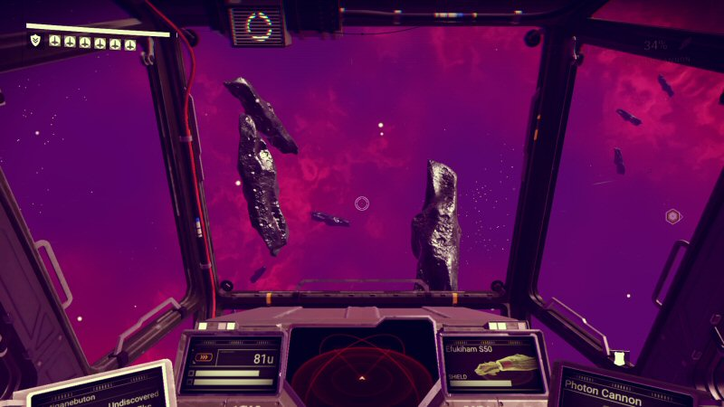 NMS tries to prove you CAN polish a turd. Space is FILLED with a uniform distribution of rocks like you see here, meaning space ought to be opaque. These are just here so you can mine them for one ingredient of warp fuel. They have to be everywhere so you can't become trapped. It's absurd.