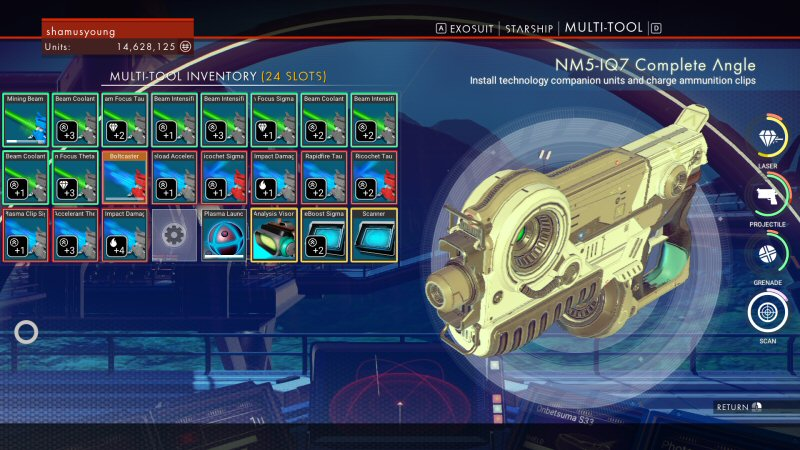 This is the grid of upgrades on my multi-tool. The stuff with the green border are bonuses for the mining laser. Would it be more efficient to build them packed together? There's literally no way to tell.