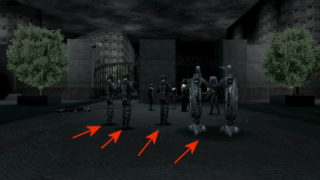 Deus Ex: If you're a super-expert on graphics programming and you study this image very closely, you might notice that the shadows are circles and not shaped like the thing supposedly casting the shadow.