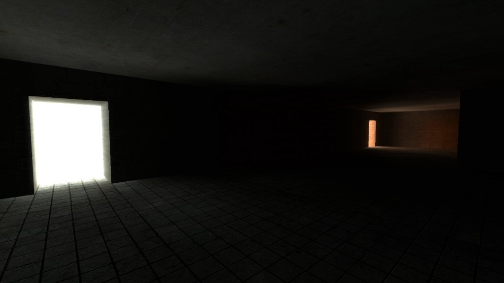 The radiosity lighting is great, but the shadows are vague and inaccurate. I don't know if this is a limitation of Valve's ancient Source Engine, or if I bungled this demo map.