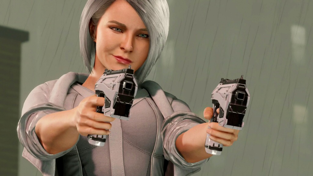 Apparently her guns fire square bullets. Does that count as a super-power?