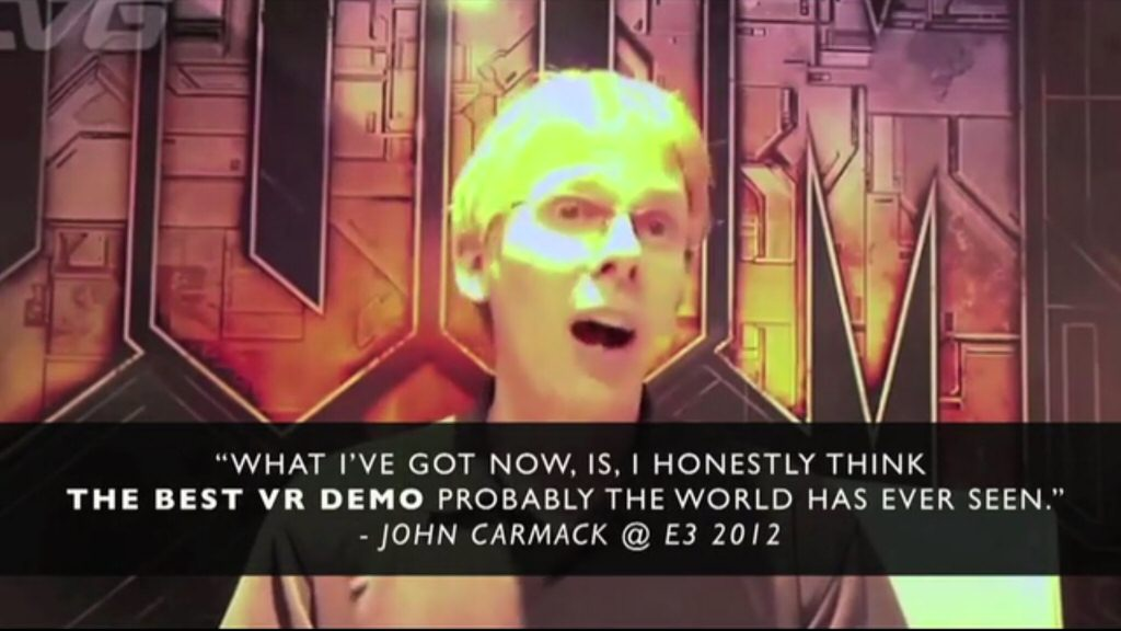 The Oculus Kickstarter pitch, which shows a Zenimax employee showing off the Rift using a Zenimax game at a Zenimax trade show booth.