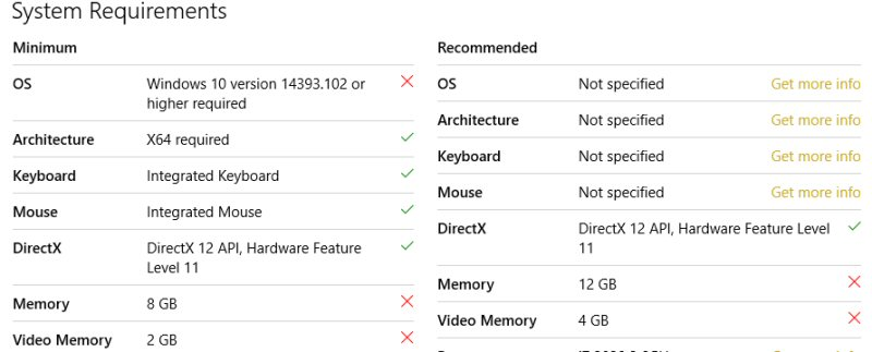 """Why are most of the recommended specs """"Not specified""""?"""