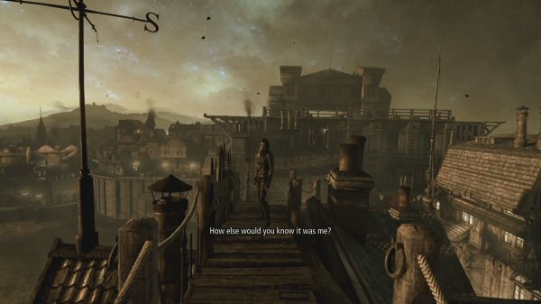 """I like to think the game designer reviewed this scene with the level designer and threw up his hands in frustration, """"You fool! I can still detect faint traces of blue in the skybox. The design document clearly calls for low-contrast brown with complete uniformity, yet I can still differentiate between foreground and background elements. I can even see this incredibly important central character without needing to squint very hard, you complete hack!"""""""
