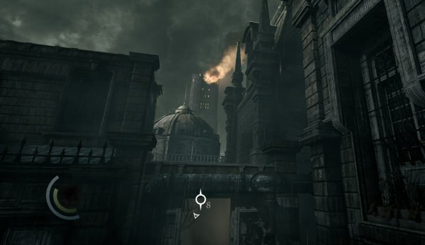 That's the keep in the distance. The game doesn't explain what caused the explosion on the top floor like that.