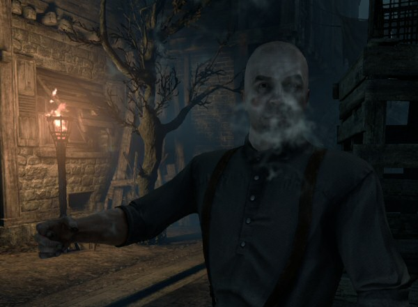 I don't have any screenshots from this part of the game, so here's a picture of a guy smoking an invisible pipe.
