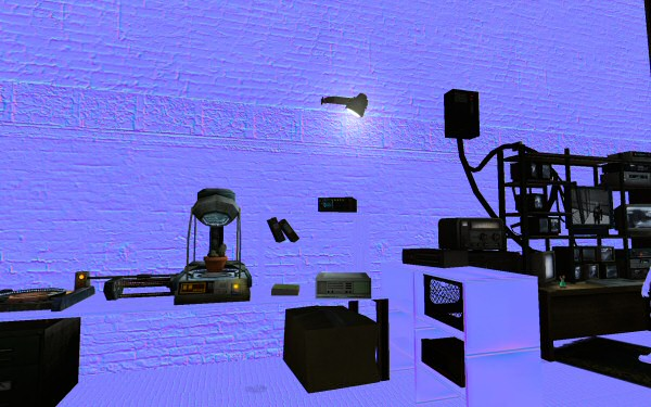 Here Half-Life 2 shows us what the normal map looks like instead of using it to light the scene. I was surprised at how many objects in the scene aren't normal mapped, here. (Everything that's not ghostly blue.) Curious that it seems to be the objects with the most detail that lack normal maps. I suppose this was a limitation of the day.