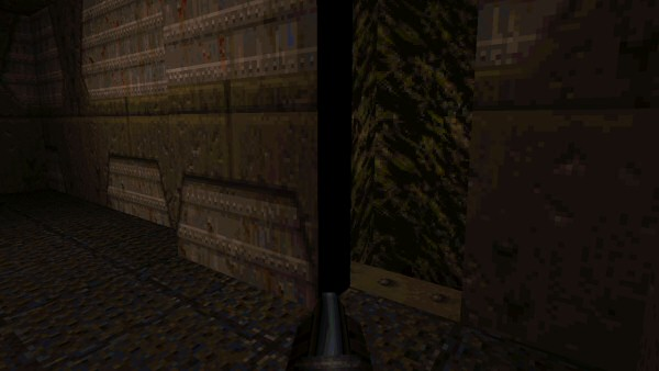 This is a secret wall in Quake. The level is lit with the panel fitted seamlessly into the wall, where lights can't reach that edge. So when the panel slides open, the edge remains black.