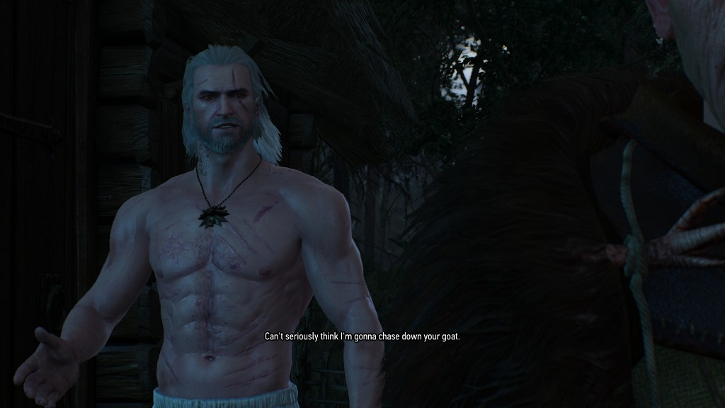 Of COURSE you have to chase down his goat, Geralt. Did you forget what genre of game you were in?