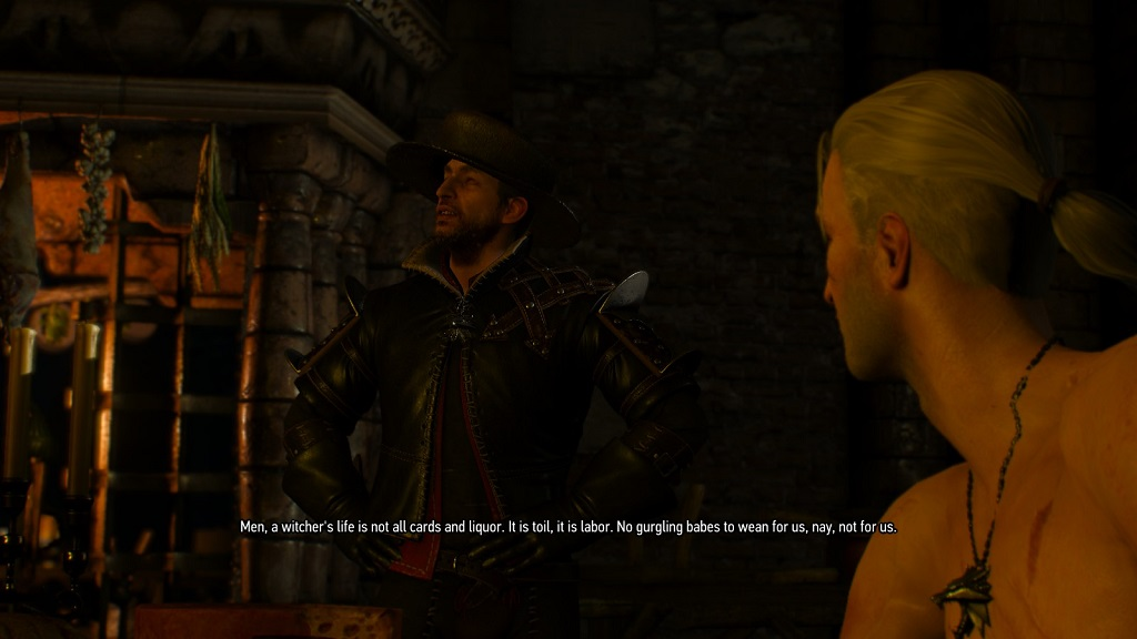 No drowners, no bandits, no water hags. Just Lambert doing his Vesemir impression.