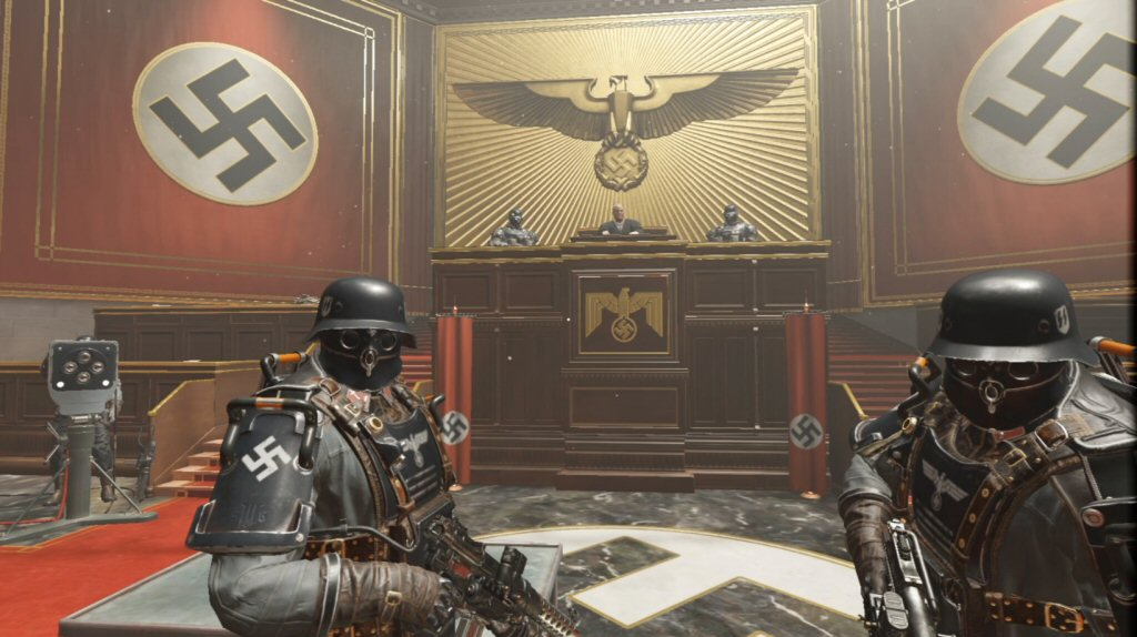 This is complete overkill on the Nazi iconography. You have to play the game to feel how one-note the environments are. It's numbing.