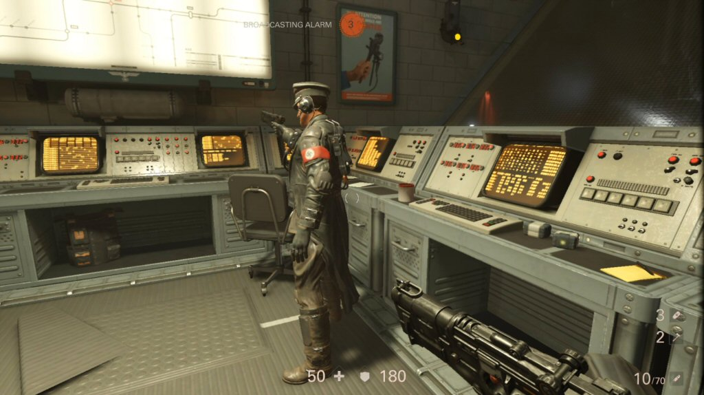 Here is a commander. If I kill him then he stops calling reinforcements. I don't know why he's pointing his gun at the wall. I think the AI is pretty janky.