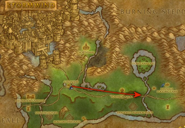 We`re FINALLY moving away from the farmlands around Goldshire. At this point a typical player is about level 10.