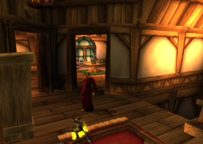 This particular inn is used again and again, all over the game. I'm pretty sure the entire building is a single model. The only real change is that different places have different furniture inside. And once again, there's a baffle wall between the inside and outside because that was needed back in 2004.