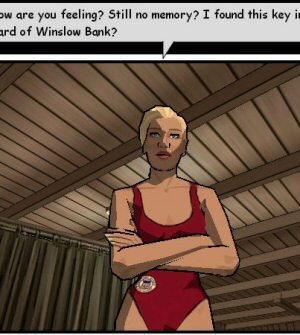 There are a lot of different sorts of inking and shading going on here. The lifeguard in the foreground is outlined in black lines (which are polygonal) and rendered with cell-shading, but the black lines that divide her suit and skin are texture-based. The curtain on the left uses a plain texture map for both lines and shading. Despite using different shading schemes, the lifeguard and the curtain still look pretty good together.  These different methods are combined to form a game that looks and feels like a moving comic book.