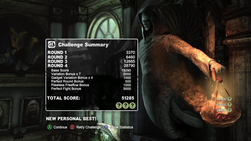 Here is the results screen after doing one of the challenge rooms. These are great little five-minute games that let you see how well you've mastered the Arkham systems.