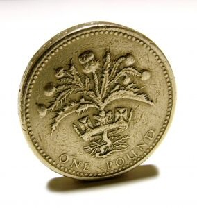 A British Pound.  Just like the kind that New Line never paid to the Tolkien estate.