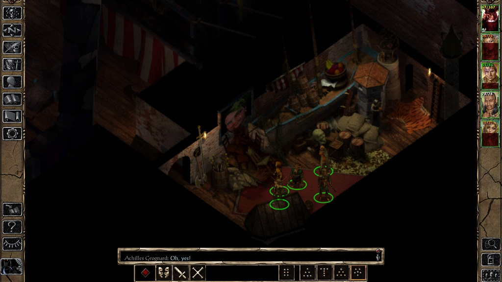 In the southeast corner of the theatre map in the slums.
