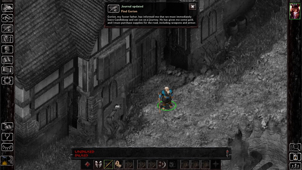 Standing outside the inn in candlekeep. In the enhanced edition, pausing the game greyscales the background, which is convenient.