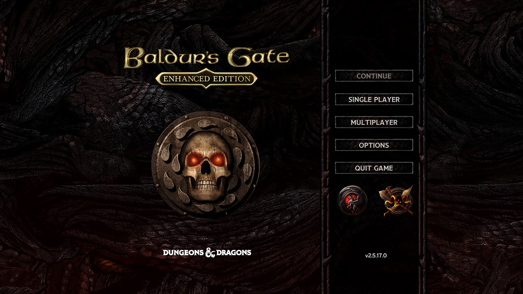 The title screen for the 'enhanced edition' of the game, with the 'Siege of Dragonspear' add-on installed.