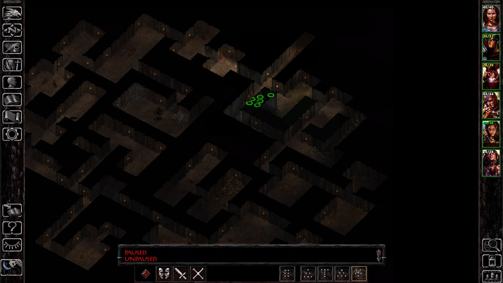Ulcaster: a typical early/mid-game dungeon. Cramped enough that the party has to walk single file in parts, a practice that works better on the tabletop than the computer screen.