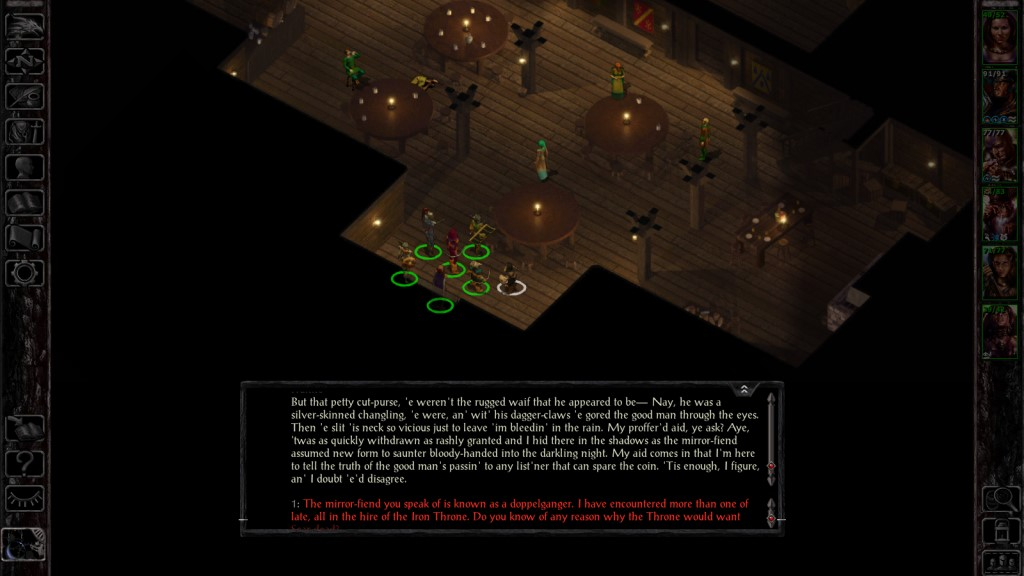 From the first game. Periodically one-off NPCs will wander up to you and start talking in what I call 'Forgotten Realms-ese,' which is reliably entertaining to read.