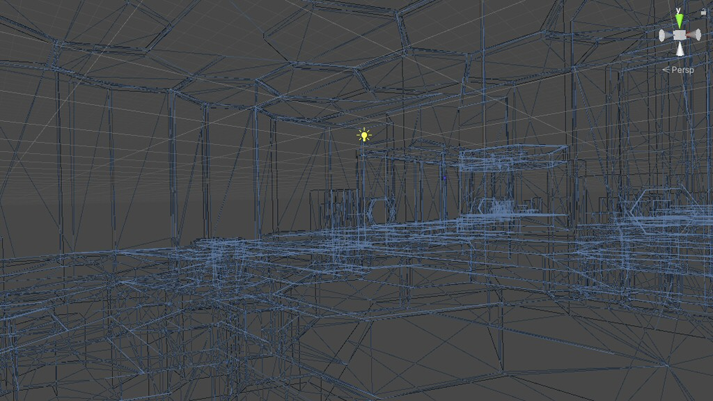 I know this looks like a big tangle of random lines, but once you do the work to create the view frustum, transform the verts, render the polygons, and calculate the lights, it can really look like something sort of half-assed.