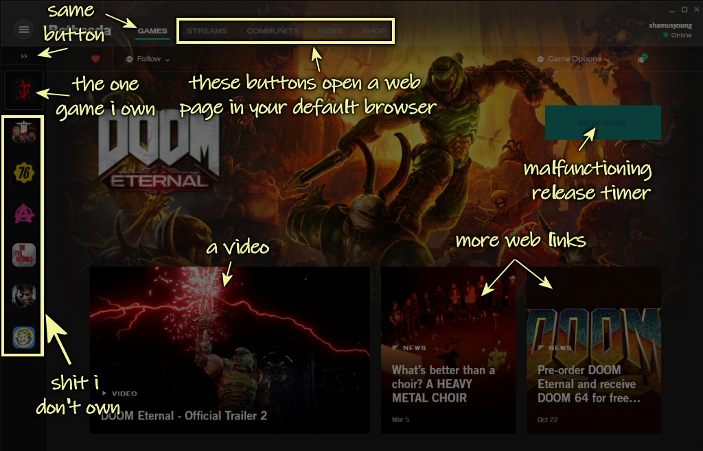 A possible silver lining: Maybe Microsoft will throw away Bethesda's hilariously broken and inadequate launcher?
