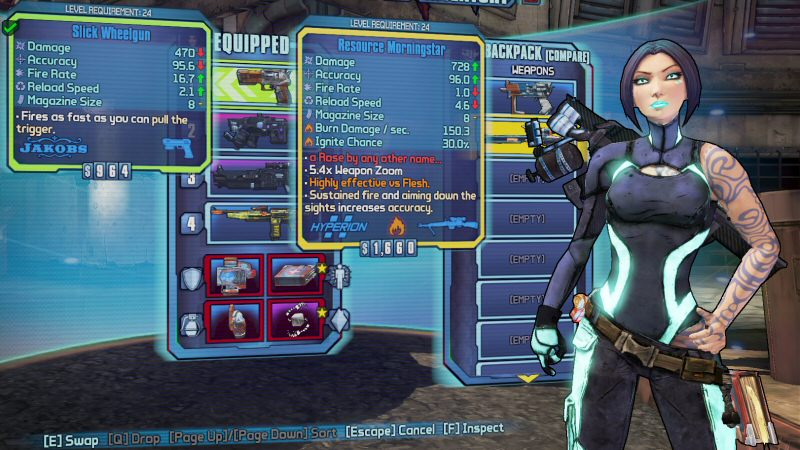 I'm going to use screenshots from Borderlands 2, because the interface is much easier to follow.