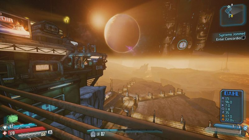 That`s Pandora in the sky, the planet where the last two games took place. To the right of that is the Hyperion station, which loomed over the moon in Borderlands 2. It pretty much fills the sky now that we`re standing on the moon.