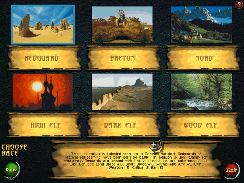 Which of these National Geographic photos does YOUR character hail from? I find it a touch odd that the caption goes out of its way to inform you that Redguards, people who apparently come from some sandy rocks, are not creamy-hued gingers. They also 'seem to have been born for battle,' unlike all of the other playable races in this game based exclusively around combat.