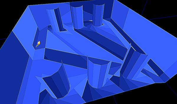 A little photoshopping applied to emphasize the edges. Note that the engine is picking random shades of blue for each zone, but sometimes you end up with two zones that have nearly the same color. It looks like there is a big, non-convex zone right in the middle of the floor, but it's really just a case of adjacent zones being the same color.