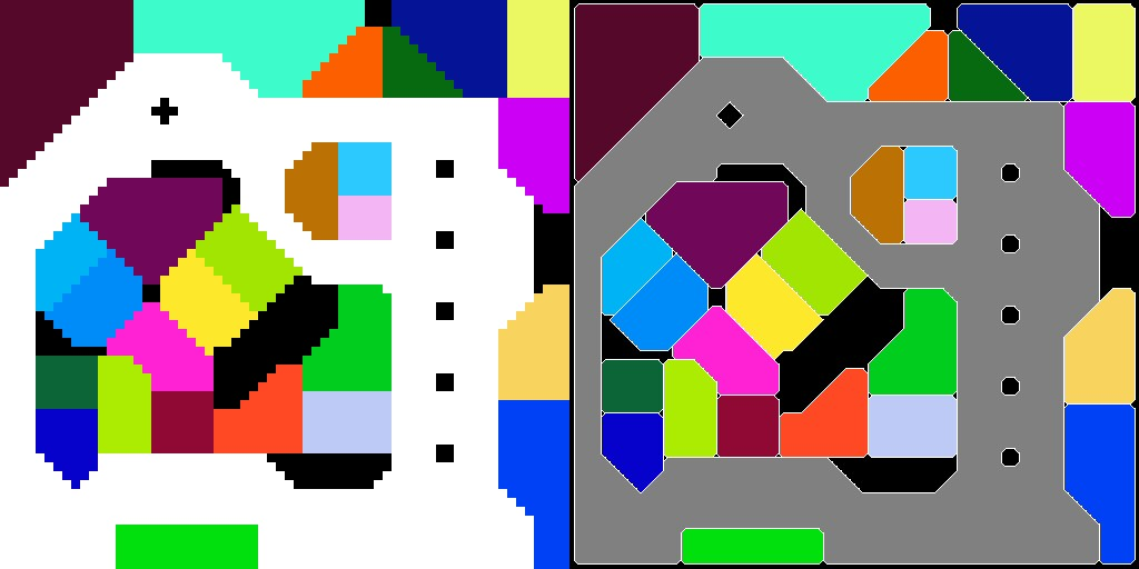 Left: My hand-made 64x64 pixel data. Right: The resulting level layout.