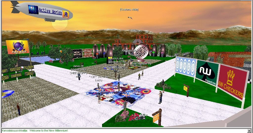This is an actual screenshot from our software, sometime in 2000. If you want to see more, check out <a href='http://host.activeworlds.com/mauz/public/awpics.html'>this massive archive</a> maintained by user Mauz.