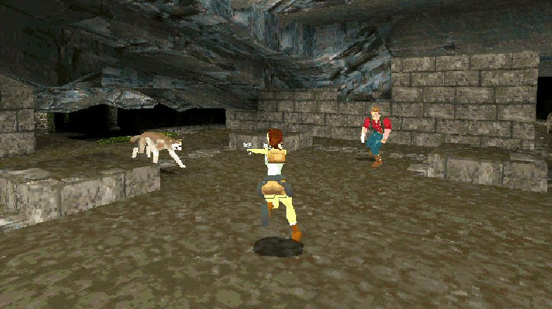 "Here's a shot from one of the early Tomb Raider games. Note the round shadow under Lara and the other characters. This is crucial for giving a sense of depth and scale and making the character feel properly ""grounded"". These are blob shadows. It seems like a small thing, but it makes a huge difference."
