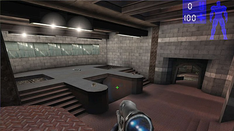 I don't have any screenshots of the project, but here's a shot of Unreal Tournament. This is from the same time period and it's kind of what I was shooting for.