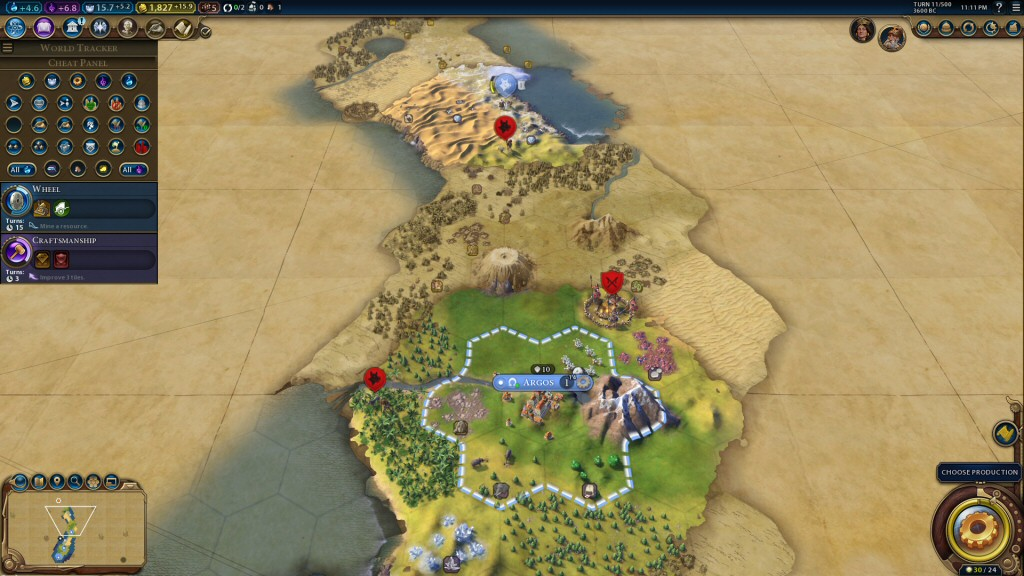 Military units move 1 space per turn. Which means it would take 1 turn to march a unit from my city to this barbarian camp, maybe 2 or 3 turns to defeat it, and 2 turns to get home again. That's 6 generations, or  240 years.