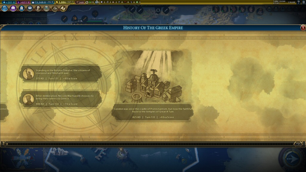 Civ games usually have some way of recognizing your progress that's gratifying but ultimately pointless in terms of gameplay. (Like upgrading your throne room.) I really like the Civ 6 version of this, which is an ever-growing timeline.