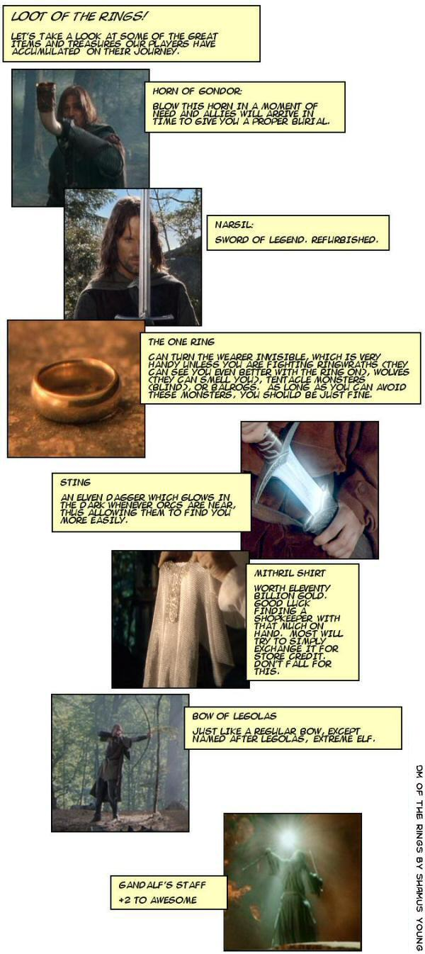 Loot of the Rings, Horn of Gondor, Staff of Gandalf, Sting, Bow of Legolas, Mithril, Narsil, The One Ring