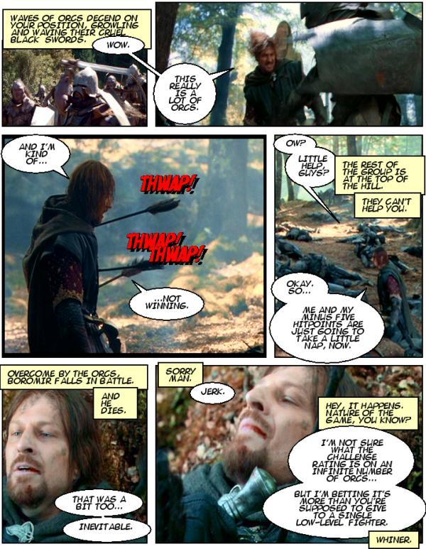 Boromir, Lots of Orcs, Hitpoints, Player Death