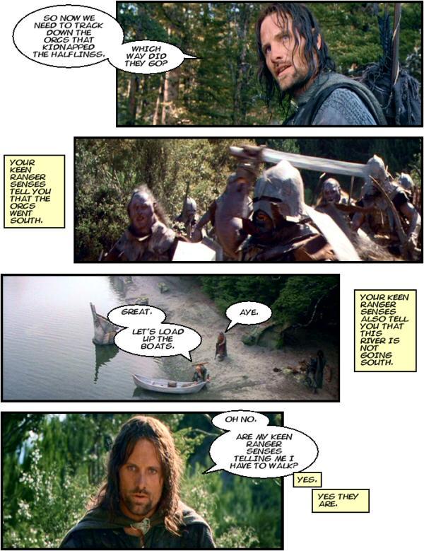 Aragorn the Ranger tracks the orcs. Keen ranger senses.