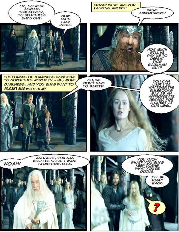 Gimli, Legolas, and Aragorn in Rohan.  Eowyn as quest reward.