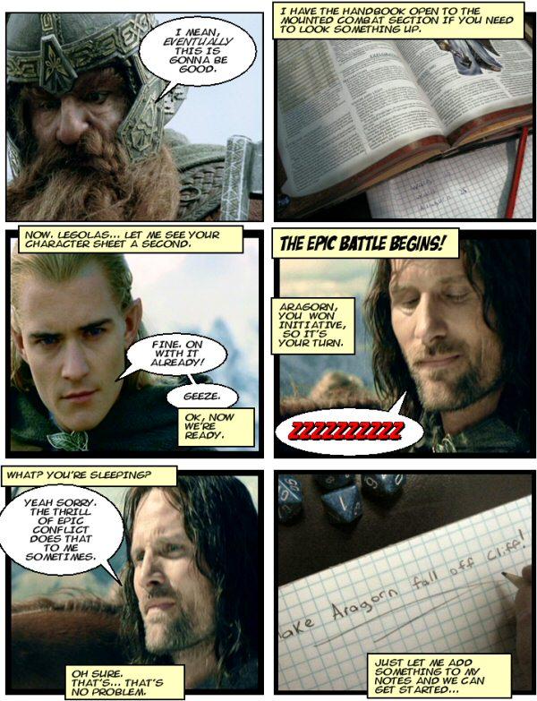 Aragorn falls asleep.