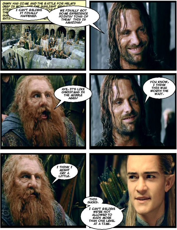 The players finally get some XP. Legolas is pissed.