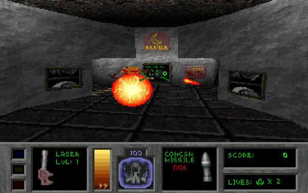 """This is the game in its 320&#215;200 glory. The other screenshots here were made using an <a href=""""http://www.dxx-rebirth.com/"""">updated open-source fan version</a> that drags the thing into this century."""