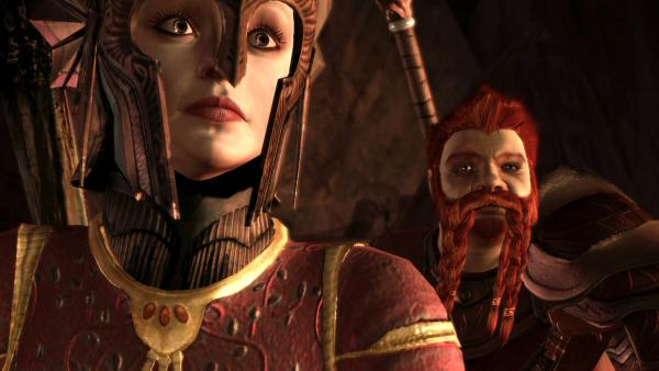 To the right is the Dwarf voiced by Blum.  For some reason, it left our headwear on for this cutscene.